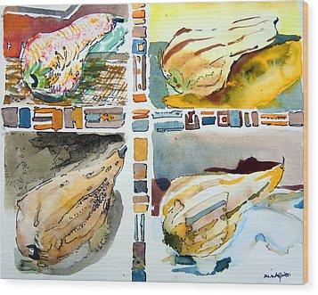 The Gourd Quartet Wood Print by Mindy Newman