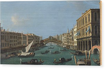The Grand Canal Wood Print by Antonio Canaletto