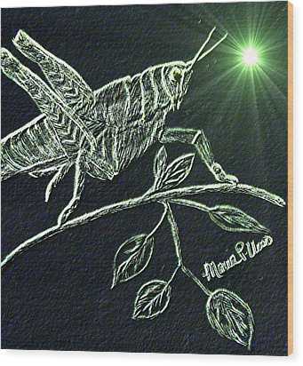 Wood Print featuring the drawing The Grasshopper by Maria Urso