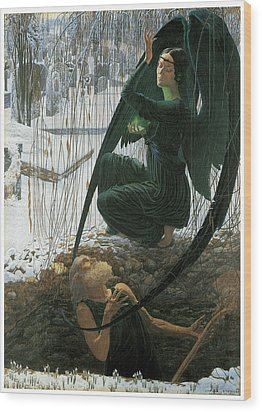 The Grave Digger's Death Wood Print by Carlos Schwabe