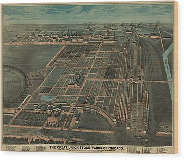 The Great Union Stock Yards Of Chicago Wood Print by Everett