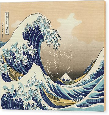 The Great Wave Wood Print by Pg Reproductions
