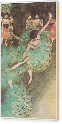 The Green Dancer Wood Print by Edgar Degas