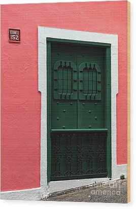 The Green Door Wood Print by John Rizzuto