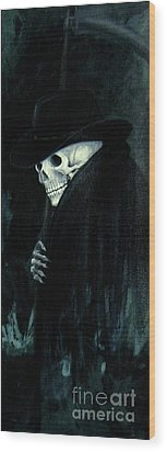 The Grim Reaper Wood Print by Barbara Marcus