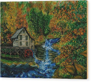 The Grist Mill In Autumn Wood Print by Tanna Lee M Wells