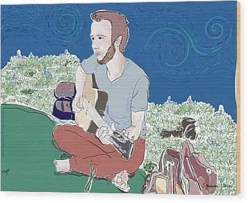 The Guitar Player Wood Print by Susie Morrison