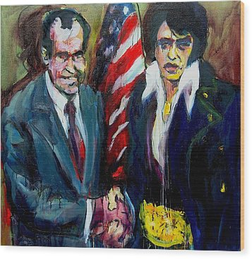 Wood Print featuring the painting The Hand Shake by Les Leffingwell
