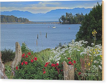 The Harbor At Sooke Wood Print by Louise Heusinkveld