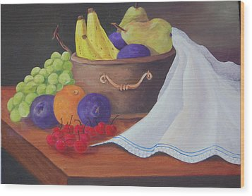 The Healthy Fruit Bowl Wood Print by Janna Columbus