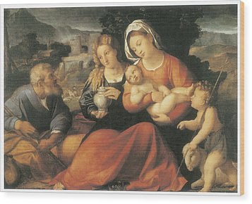 The Holy Family And Mary Magdalene Wood Print by Palma The Elder