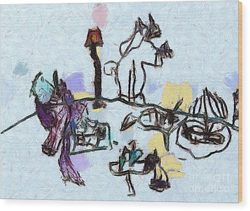 The Horses Picnic Wood Print by Odon Czintos