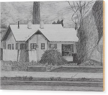 Wood Print featuring the drawing The House Across by Kume Bryant