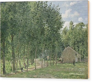 The House In The Forest Wood Print by Camille Pissarro