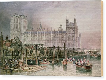The Houses Of Parliament In Course Of Erection Wood Print by John Wilson Carmichael