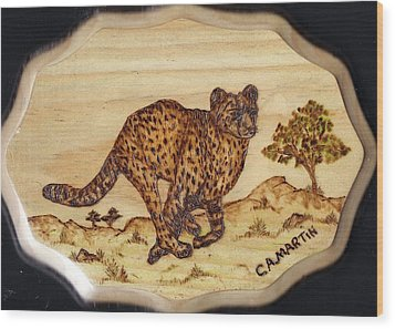 The Hunt Of The Cheetah Wood Print by Clarence Butch Martin