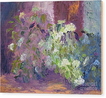 The Hydrangeas Wood Print by Patricia Huff