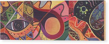 The Joy Of Design Triptych Wood Print by Helena Tiainen