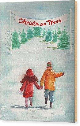 The Joy Of Selecting A Christmas Tree Wood Print by Sharon Mick