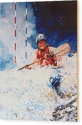 The Kayak Racer 20 Wood Print by Hanne Lore Koehler