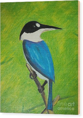 The King Fisher Wood Print