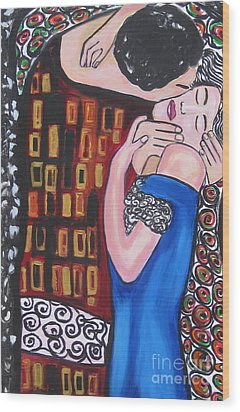 The Kiss Wood Print by Diana Riukas