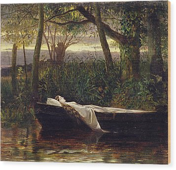 The Lady Of Shalott Wood Print by Walter Crane