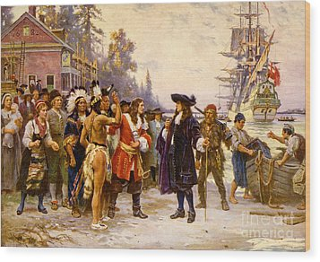 The Landing Of William Penn, 1682 Wood Print by Photo Researchers