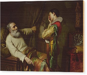 The Last Moments Of Christopher Columbus  Wood Print by Claude Jacquand