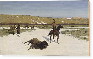 The Last Of The Herd Wood Print by Henry Francois Farny