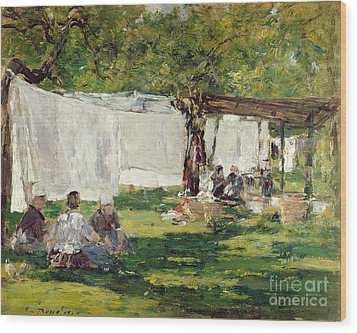 The Laundry At Collise St. Simeon  Wood Print by Eugene Louis Boudin
