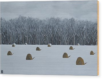 The Lazy Farmers' Field Wood Print by Holly Donohoe