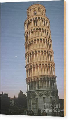 The Leaning Tower Of Pisa With Moon Wood Print