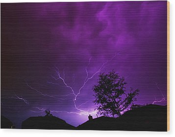 The Lightning Spread Wood Print by Lisa  Spencer