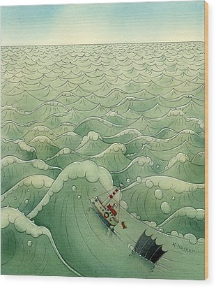 The Little Boat 02 Wood Print by Kestutis Kasparavicius