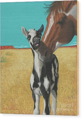 The Little Mustang Wood Print by Tracy L Teeter