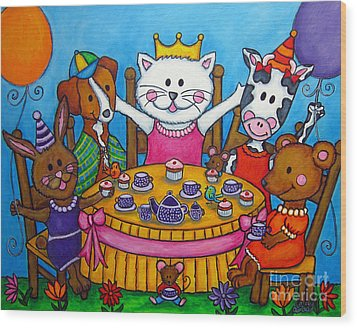 The Little Tea Party Wood Print by Lisa  Lorenz
