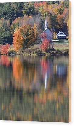The Little White Church In Autumn Wood Print