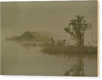 The Lodge In The Mist Wood Print by Skip Willits