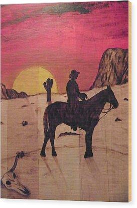 The Lone Cowboy Wood Print by Andrew Siecienski