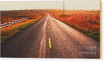The Long Road Home . Painterly Style . Wide Size Wood Print by Wingsdomain Art and Photography