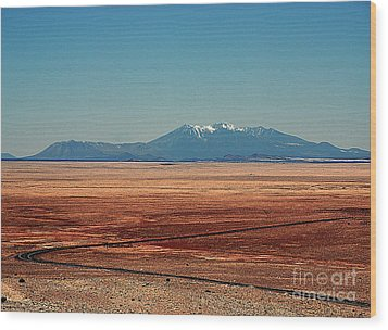 The Long Road To The Meteor Crater In Az Wood Print by Susanne Van Hulst