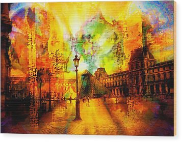 The Louvre Wood Print by Carrie OBrien Sibley