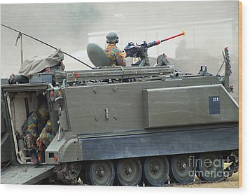 The M113 Tracked Infantry Vehicle Wood Print by Luc De Jaeger