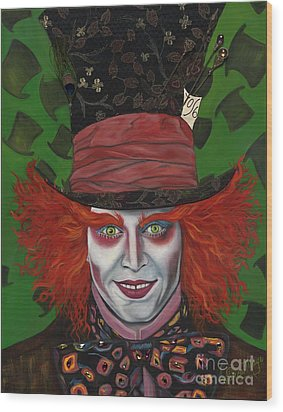The Mad Hatter Wood Print by Viveca Mays