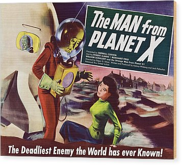 The Man From Planet X, Pat Goldin Title Wood Print by Everett