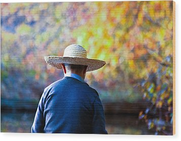 The Man In The Straw Hat Wood Print