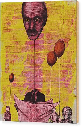 The Man With The Inflatable Head Wood Print by Spencer Bower