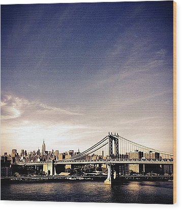 The Manhattan Bridge And New York City Skyline Wood Print