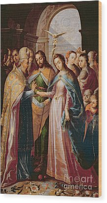 The Marriage Of Mary And Joseph Wood Print by Mexican School